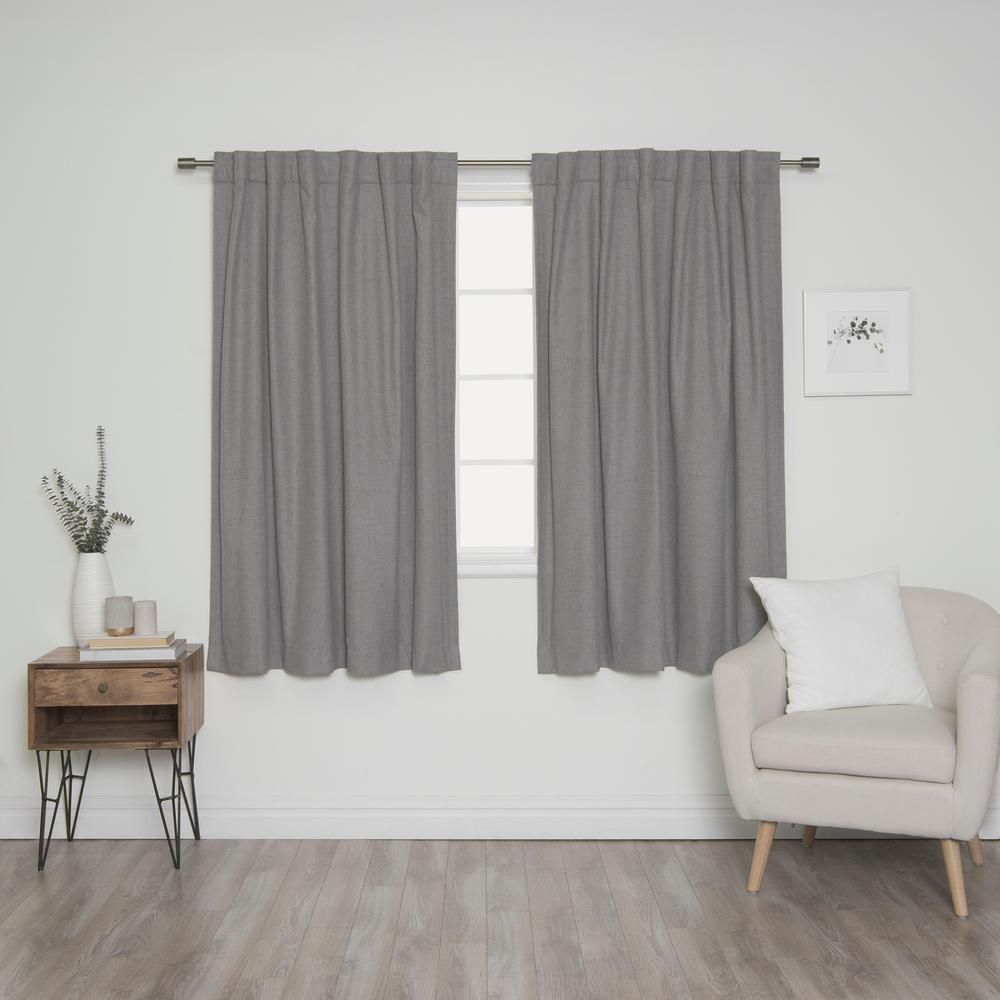 L Back Tab Curtains In Grey 2 Pack