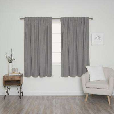Linen Look 52 in. W x 63 in. L Back Tab Curtains in Grey (2-Pack)