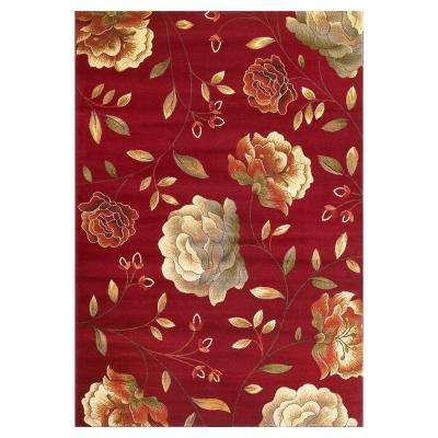 Rose to Riches Red 8 ft. x 10 ft. Area Rug