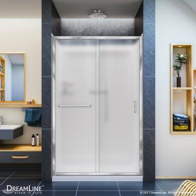Infinity-Z 36 in. x 48 in. Semi-Frameless Sliding Shower Door in Chrome with Center Drain Base and Backwalls