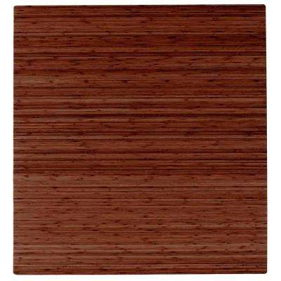 Walnut 48 in. x 52 in. Bamboo Roll-Up Chair Mat with No Lip