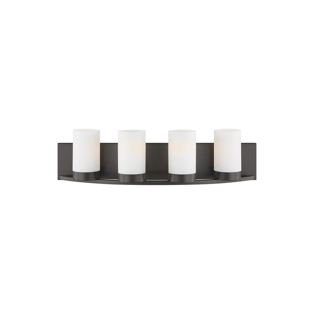 LBL Lighting Granada 24 in. W 4-Light Bronze Contemporary Bathroom Vanity Light with Frosted White Cylinder Shades