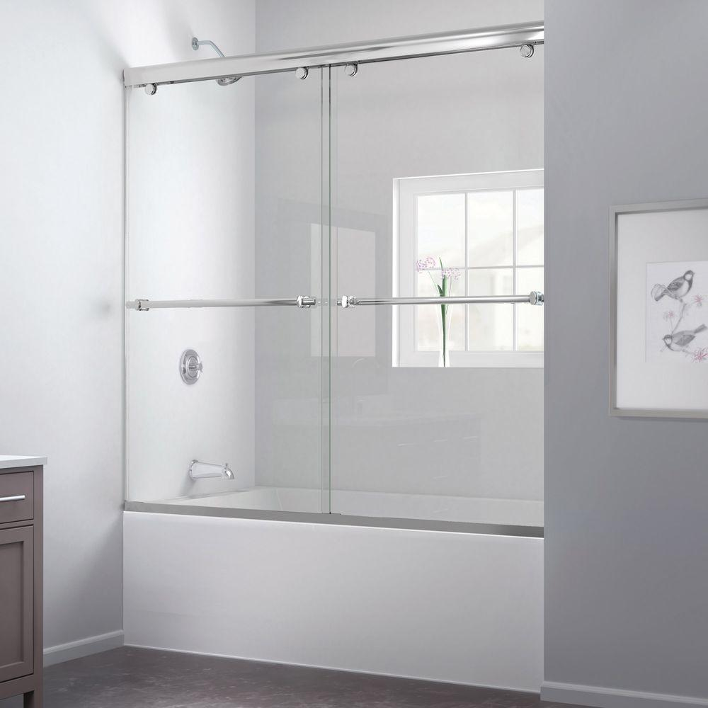 DreamLine Charisma 56 to 60 in. x 58 in. Semi-Framed Bypass Tub and Shower Door in Chrome