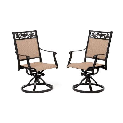Classic Dark Brown Swivel Cast Aluminum Outdoor Dining Chair (2-Pack)