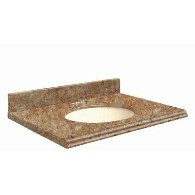 37 in. W x 22 in. D Granite Vanity Top in India Gold with Biscuit Basin