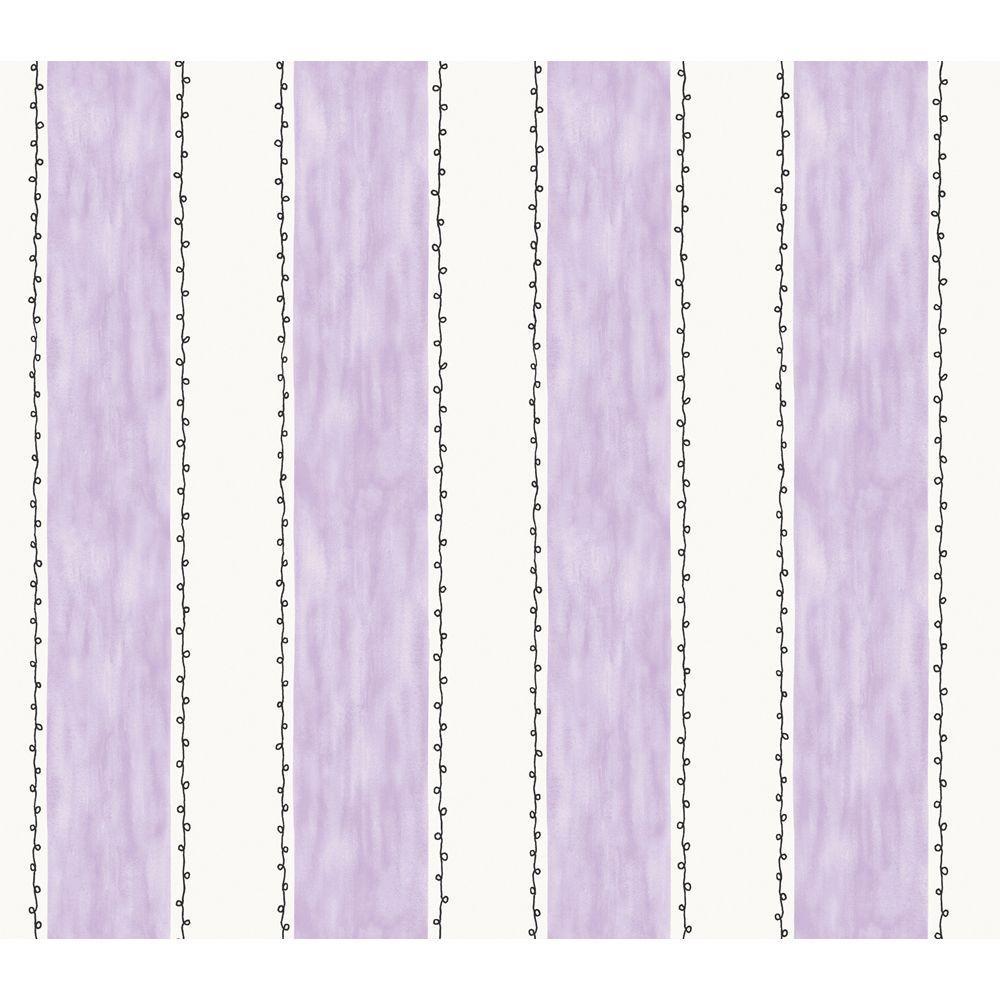 The Wallpaper Company 56 sq. ft. Purple And White Ciao Bella Stripe Wallpaper