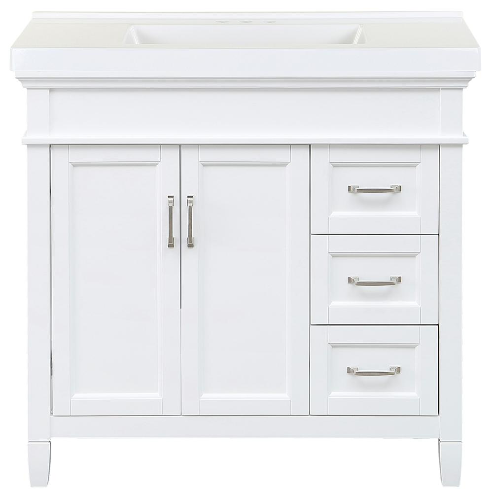 Home Decorators Collection Ashburn 37 in. W x 22 in. D Bath Vanity in White with Cultured Marble Vanity Top in White with White Sink was $828.0 now $496.8 (40.0% off)