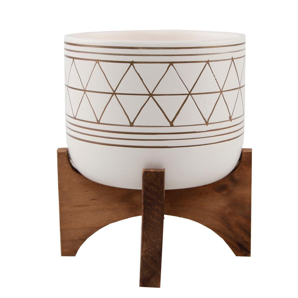 Mid-Century 5 in. White/Gold Line Ceramic Geometric Pot with Wood Stand Planter