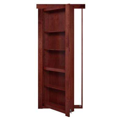 28 in. x 80 in. Flush Mount Assembled Maple Cherry Stained Left Hand Out-Swing Solid Core Interior Bookcase Door