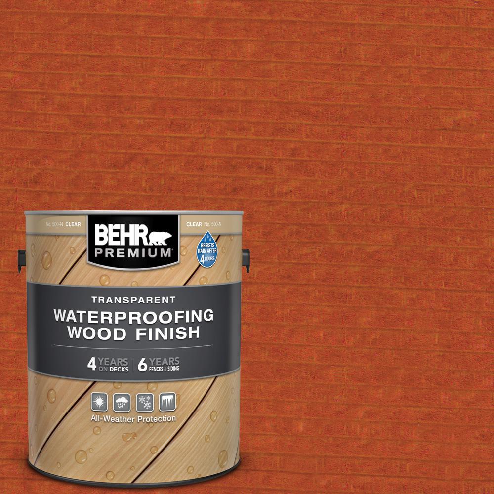 BEHR Premium 1 gal. #T-112 Barn Red Transparent Waterproofing Exterior Wood Finish