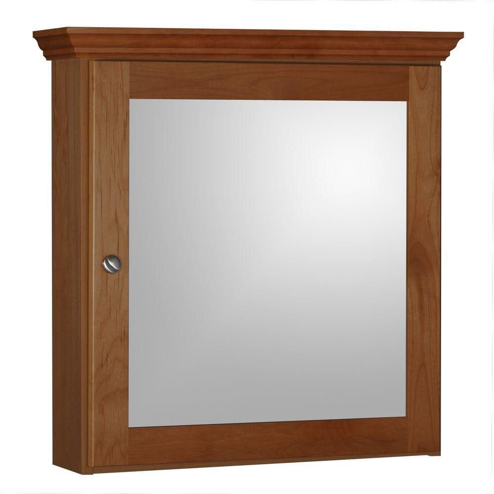 Shaker 24 in. W x 27 in. H x 6-1/2 in. D Framed Surface-Mount Bathroom Medicine Cabinet in Medium Alder