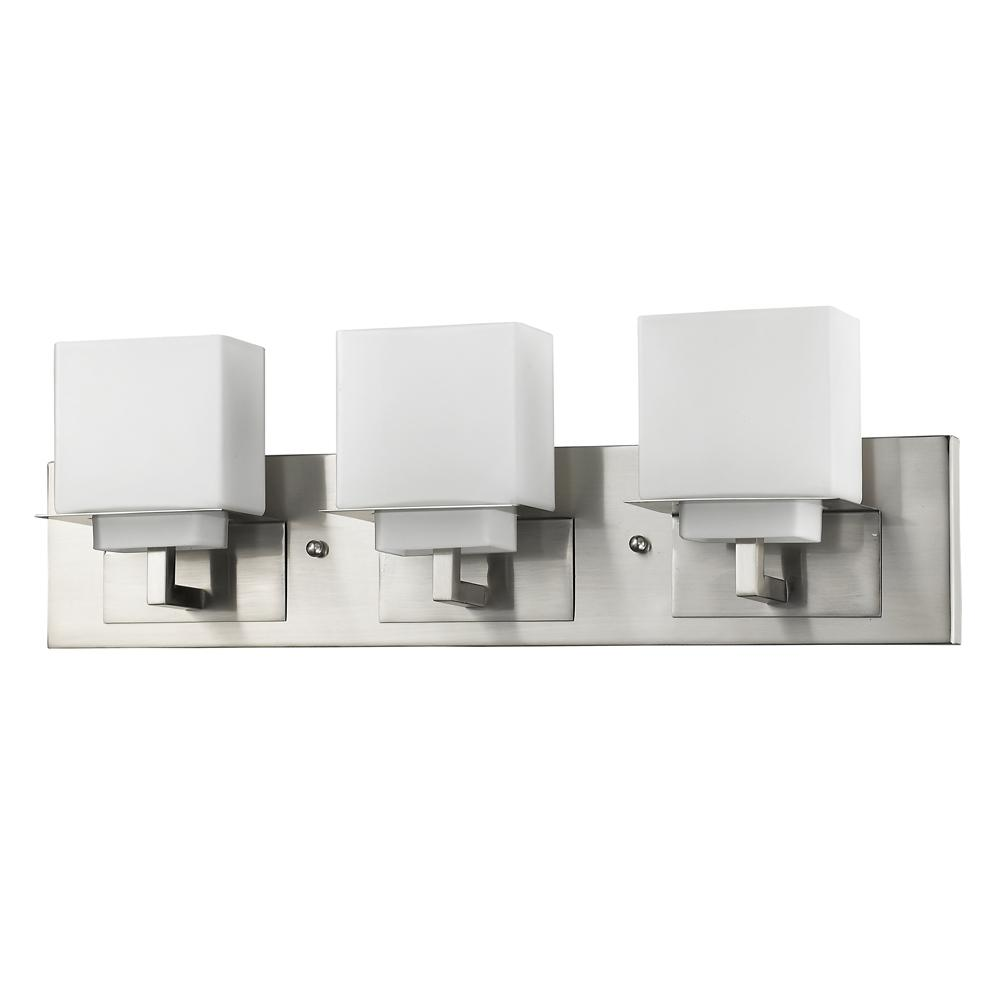 Acclaim Lighting Rampart 22 in. 3-Light Satin Nickel Vanity Light with Etched Glass Shades