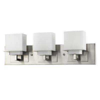 Rampart 22 in. 3-Light Satin Nickel Vanity Light with Etched Glass Shades