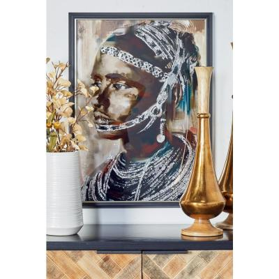 "29 in. x 22 in. ""Tribal Girl"" Hand Painted Framed Canvas Wall Art"