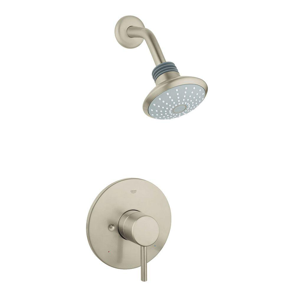 grohe concetto single handle shower only faucet trim kit in brushed nickel infinityfinish valve. Black Bedroom Furniture Sets. Home Design Ideas