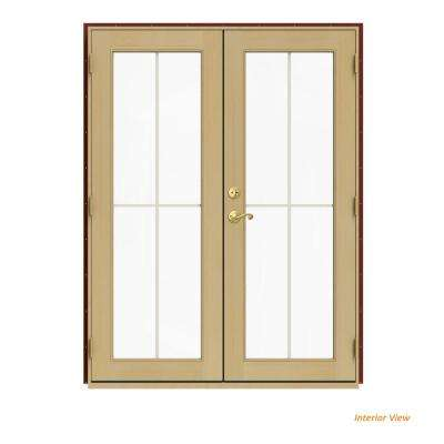 60 in. x 80 in. W-2500 Red Clad Wood Left-Hand 4 Lite French Patio Door w/Unfinished Interior