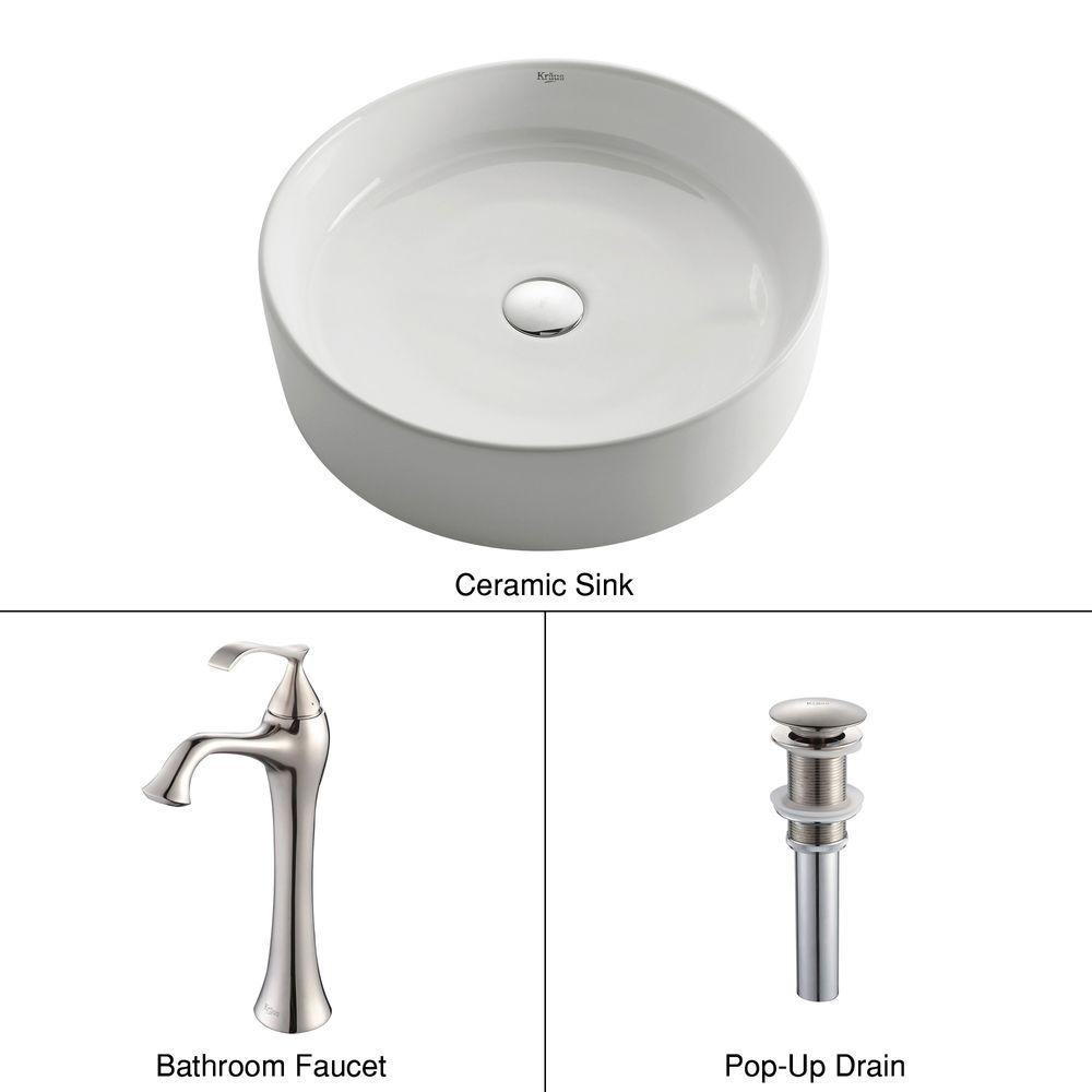 KRAUS Round Ceramic Vessel Sink in White with Ventus Faucet in Brushed Nickel