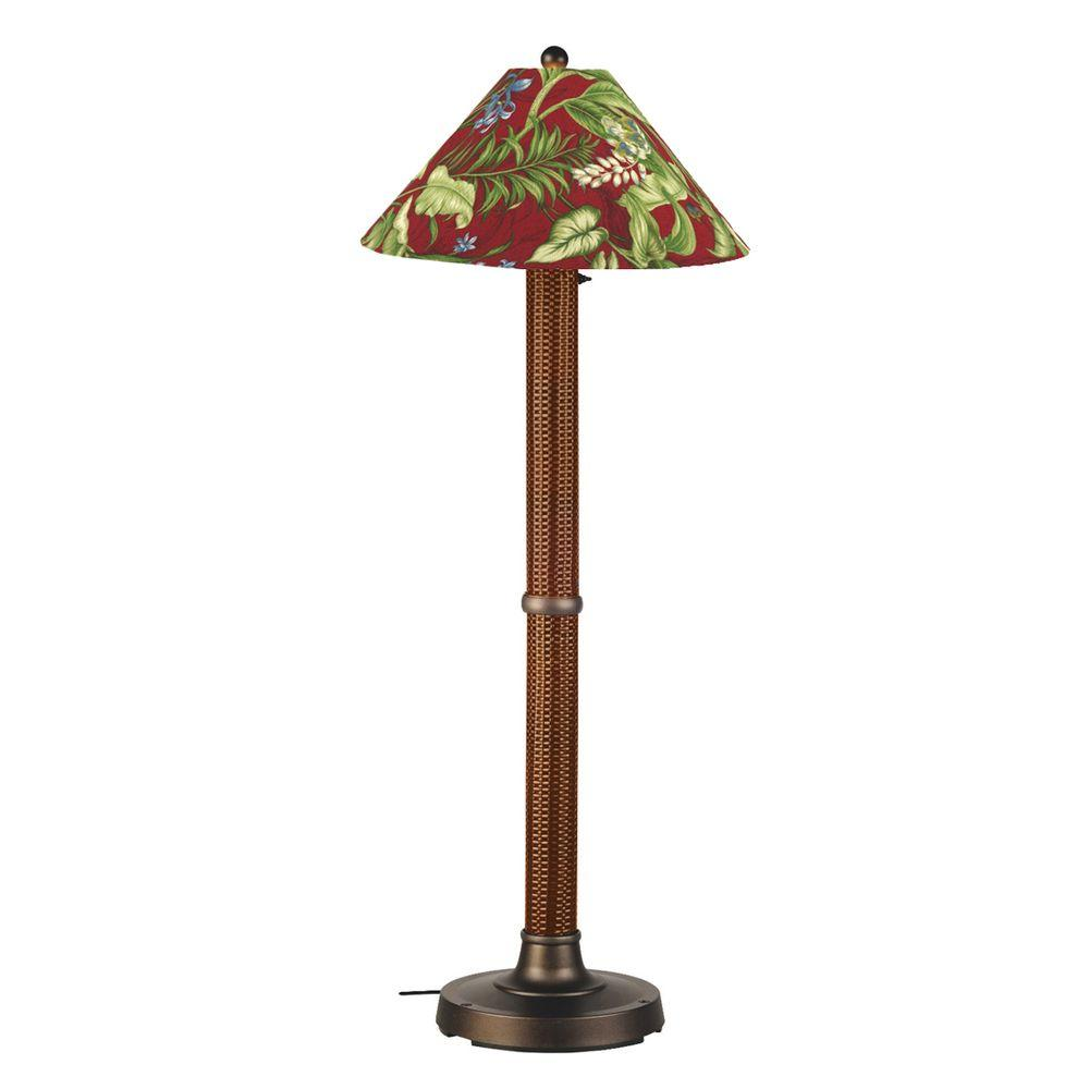 Patio Living Concepts Bahama Weave 60 in. Red Castango Floor Lamp with Lacquer Shade