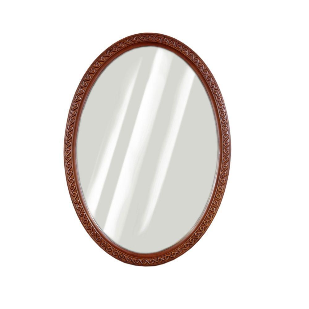 JSG Oceana Cambridge 34 in. x 24 in. Framed Mirror in Oak-DISCONTINUED
