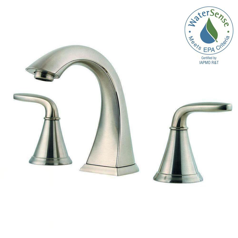 Pfister pasadena 8 in widespread 2 handle bathroom faucet for 8 bathroom faucet in brushed nickel
