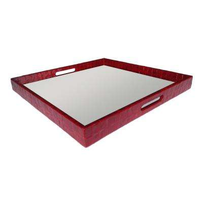 2 in. Wood/Mop Tray with Mirror in Red