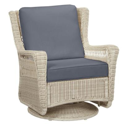 Park Meadows Off-White Wicker Swivel Outdoor Patio Rocking Lounge Chair with CushionGuard Steel Blue Cushions