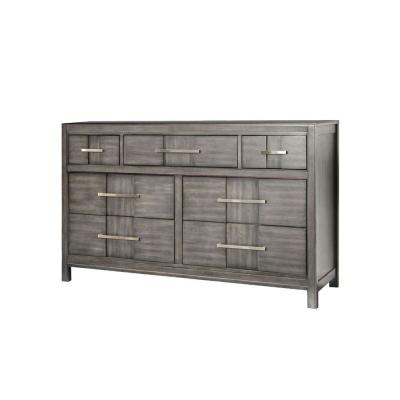 7-Drawers Gray and Silver Wooden Dresser with and Metal Pull 17 in. L x 58 in. W x 35 in. H