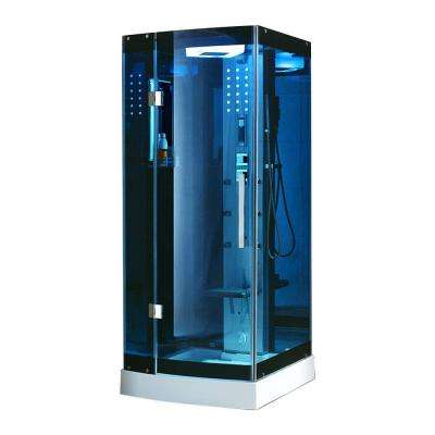 39.5 in. x 39.5 in. x 85 in. Steam Shower Enclosure Kit in Blue Tempered Glass