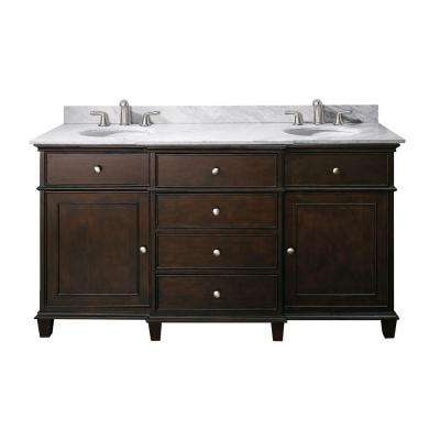 Windsor 61 in. W x 23 in. D x 35 in. H Vanity in Walnut with Marble Vanity Top in Carrera White and White Basins