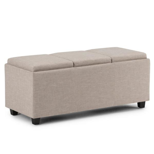 Avalon 42 in. Contemporary Storage Ottoman in Natural Linen Look Fabric