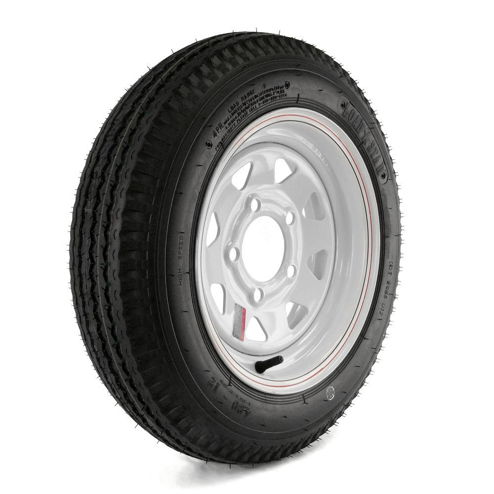 480-12 Load Range B 5-Hole Custom Spoke Trailer Tire and Wheel