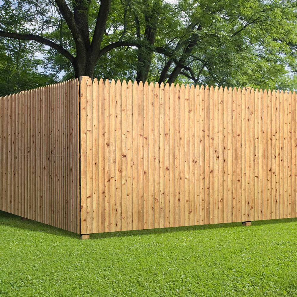 6 Ft X 8 Ft Cedar Moulded Stockade Fence Panel 405799 The Home Depot