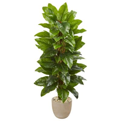 Indoor 58-In. Large Leaf Philodendron Artificial Plant in Sand Stone Planter