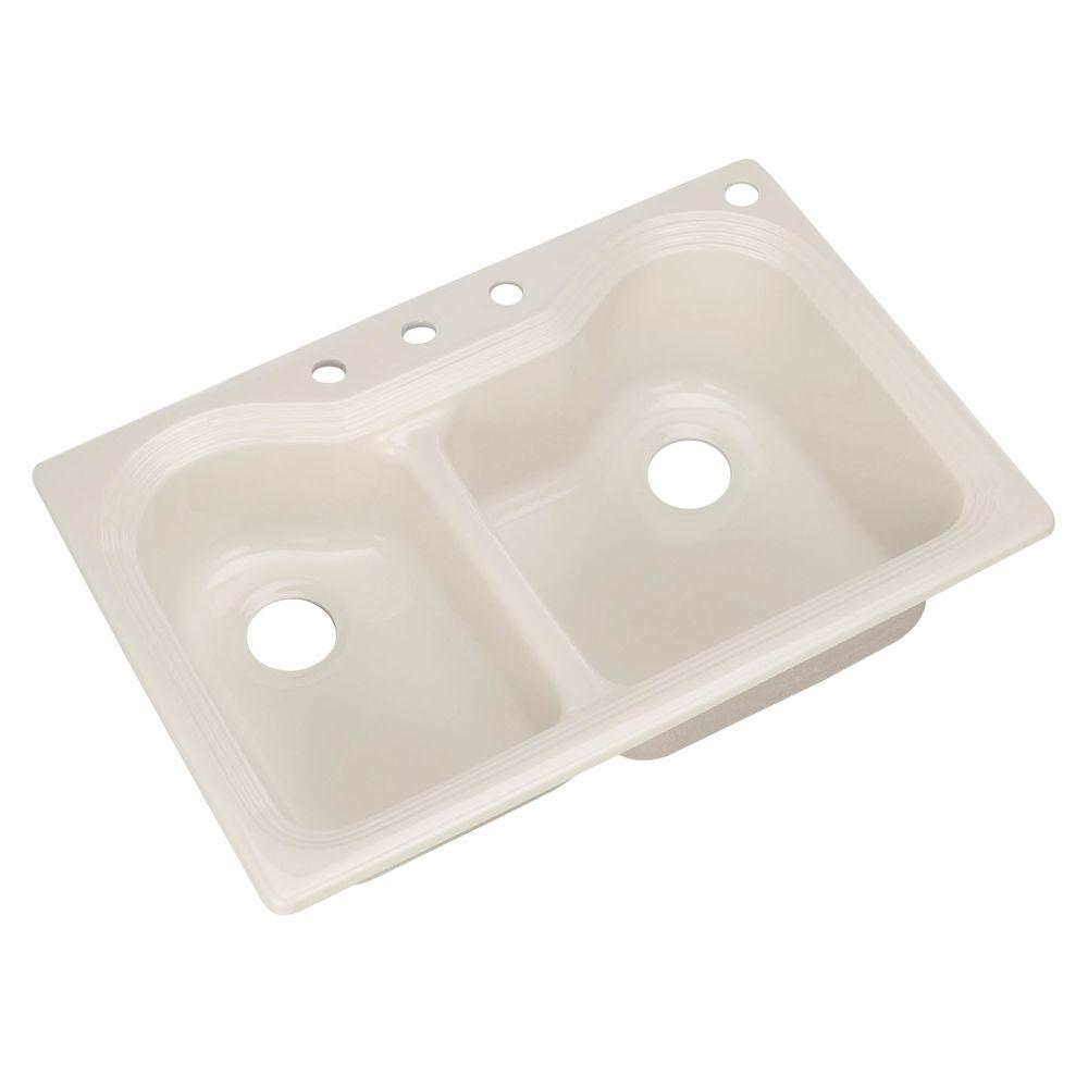 Breckenridge Drop-In Acrylic 33 in. 4-Hole Double Bowl Kitchen Sink in