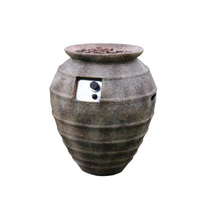 Pompeii 26 in. Oval Concrete Propane Fire Pot in Propane in Ancient Brown