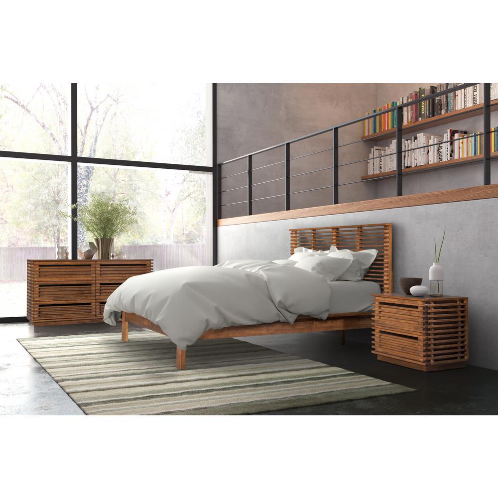 Linea Walnut Queen Sleigh Bed