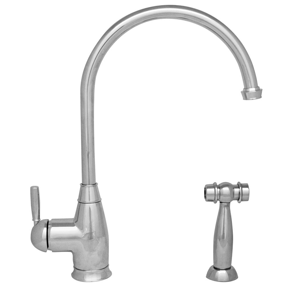 Whitehaus Collection Queenhaus Single Handle Standard Kitchen Faucet With Side Sprayer In Polished Chrome