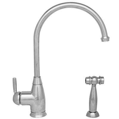 Queenhaus Single-Handle Standard Kitchen Faucet with Side Sprayer in Polished Chrome