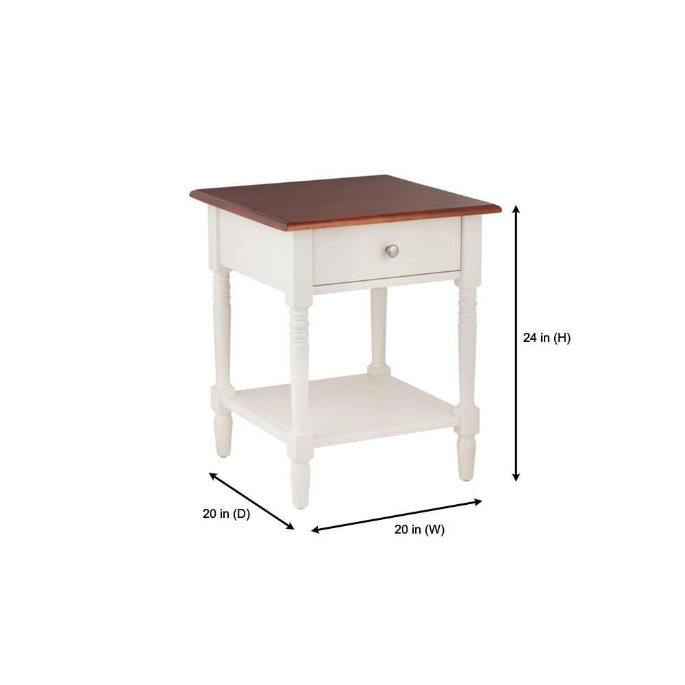 Table H Et H stylewell trentwick square ivory wood 1 drawer end table
