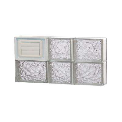 21.25 in. x 11.5 in. x 3.125 in. Frameless Ice Pattern Glass Block Window with Dryer Vent