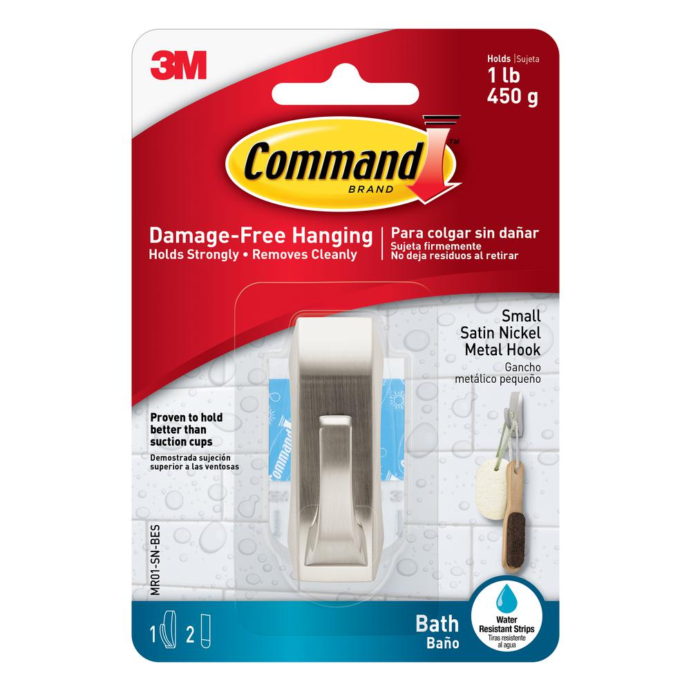Command 1 lbs. Small Modern Reflections Hook with Water-Resistant Strips (3-Pack)