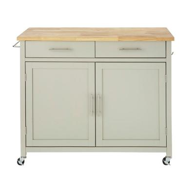 Glenville Grey Rolling Kitchen Cart with Butcher Block