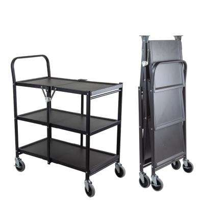 Commercial Grade 3-Tier Steel Rolling Folding Utility Cart - Solid
