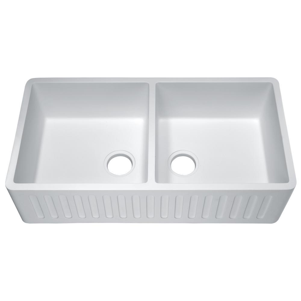Anzzi Roine Farmhouse Engineered Stone 35 In 50 Double Bowl Kitchen Sink