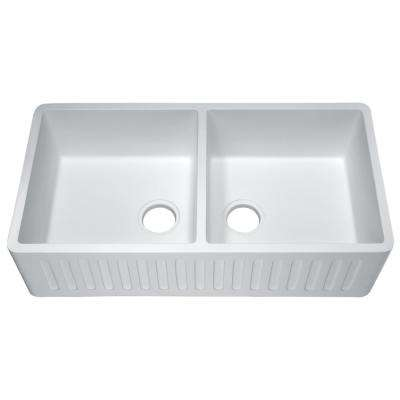 Roine Farmhouse Engineered Stone 35 in. 50/50 Double Bowl Kitchen Sink in Matte White