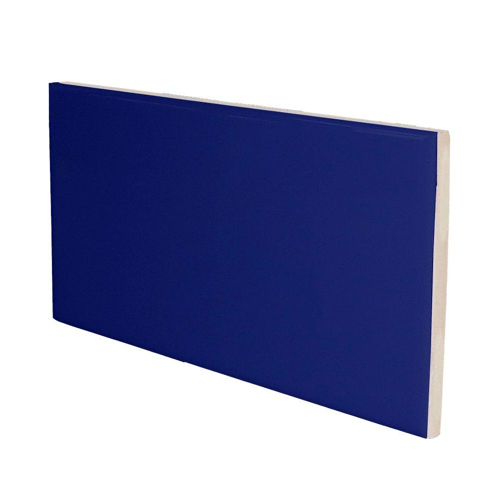 U.S. Ceramic Tile Bright Cobalt 3 in. x 6 in. Ceramic 3 in. Surface Bullnose Wall Tile-DISCONTINUED
