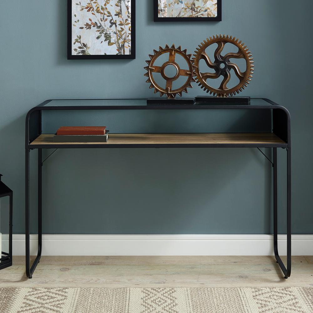 46 in. Rustic Oak Industrial Entryway Table, Glass Top, Wood Shelf