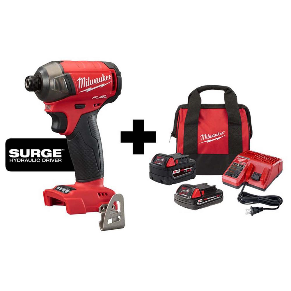 Milwaukee M18 FUEL SURGE 18-Volt Lithium-Ion Brushless Cordless 1/4 in. Hex Impact Driver with 5.0 Ah & 2.0 Ah Battery & Charger