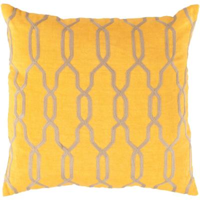 Aristeides Yellow Geometric Polyester 18 in. x 18 in. Throw Pillow