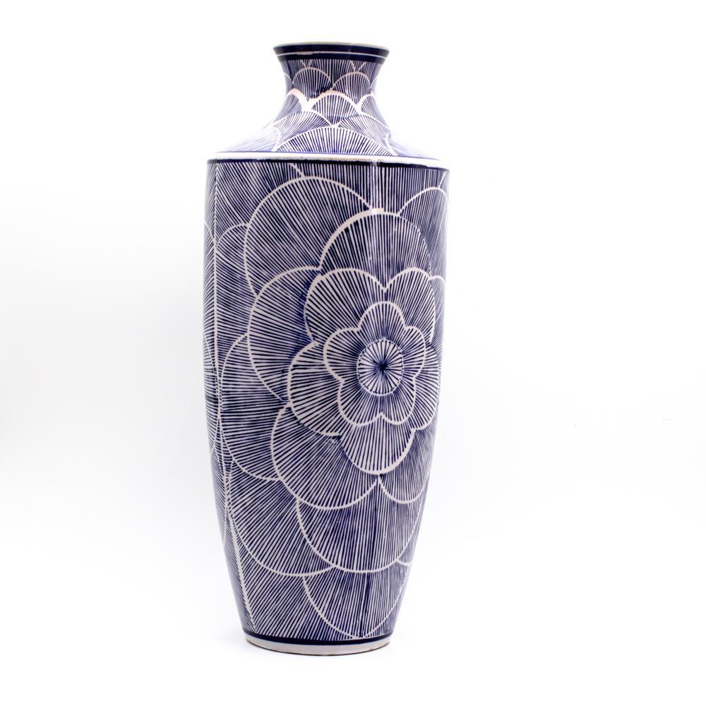 Blue Garden Tall Brushed Petal Square Shoulder Vase
